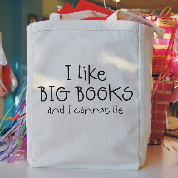 "justabookclub :     Another tote, that the inner book-nerd in me could not pass up.    ""i like big books canvas tote bag"" by Bookfiend       Want!"