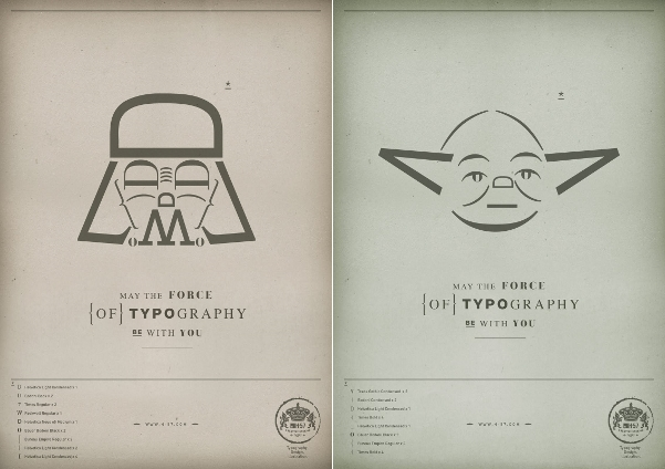 thedailywhat :      Print Ad Campaign of the Day:  A bit of self-promotion by Italian design firm H-57 using text-based Darth Vader and Yoda emoticons.   [ copyranter .]
