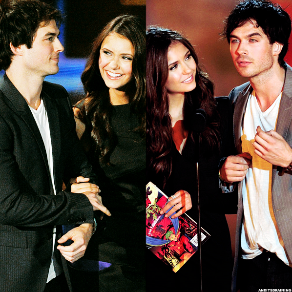 pressed-in-a-book :      anditsdraining :      Ian & Nina  l 2009 & 2010 Scream Awards     She's like  so  in love with him!     She is. But…can we blame her?
