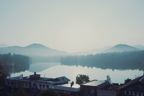 "travelhighlights :       Lake Placid   by  Adelaide Rose      "" My lovely balcony view of Lake Placid and Whiteface Mountain.""       New York, USA     Via  whoischrisjones"