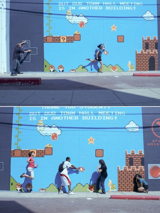 "maywhatever :      wrongwayofpop :      gamefreaksnz :      thedailywhat :      Street Art of the Day:  An ""interactive"" 16' x 38' Super Mario Bros. mural painted on the wall of the Columbus College of Art & Design's administration building by a group of CCAD students.   More photos  here .   [ boingboing .]"