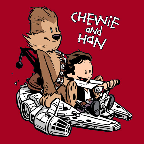 "thedailywhat :      Tee of the Day:  "" Chewie and Han "" by  Chris Wahl .   It's the ship that transmogrified the Kessel run in less than 12 parsecs, etc.   Buy it  here .   [ shirtoid .]"