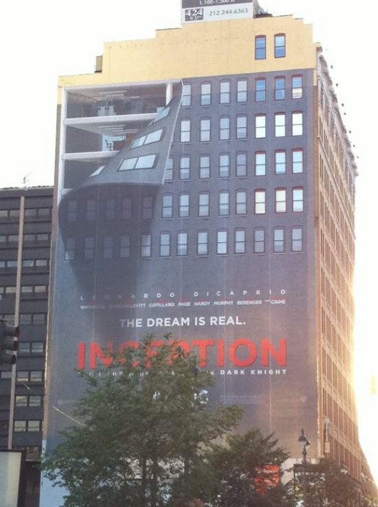popculturebrain :      POTD: Awesome  Inception  Building Advertisements | /Film    There's another one inside the link of a building that appears to be leaking. Come sooner movie.     What an awesome ad. I simply cannot wait to see the movie.