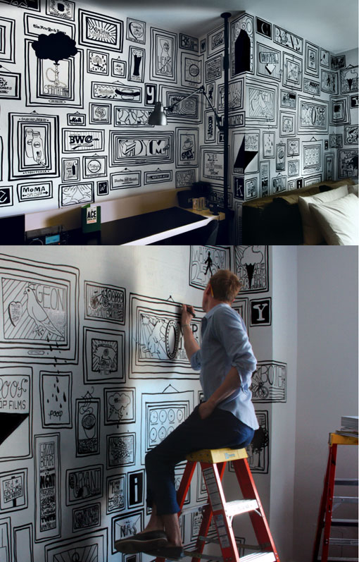 "hunsonisgroovy: Timothy Goodman, a New York based artist, hand drew 99 frames at the Ace Hotel to create a dense wall of ""discovery"" about NYC that could be passed to the common tourist staying in the room. Each frame contains a different fact / love / tid bit / thing of interest / or shout-out to a place in the city."