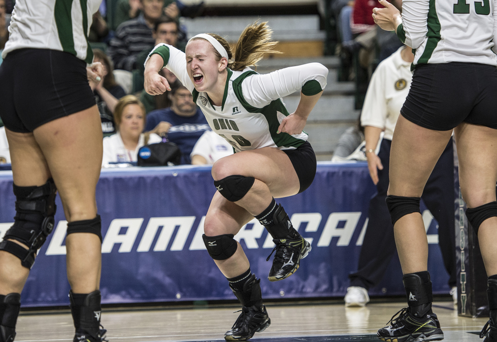 Ohio University senior outside hitter Kelly Lamberti, #10, stomps her feet in celebration after scoring a point against Western Michigan during the semifinal match of the 2014 MAC Volleyball Championship Tournament at the Convocation Center in Athens, Ohio on Sunday, Nov. 23, 2014. The match went to five sets with the Bobcats falling to the Broncos, 3-2.