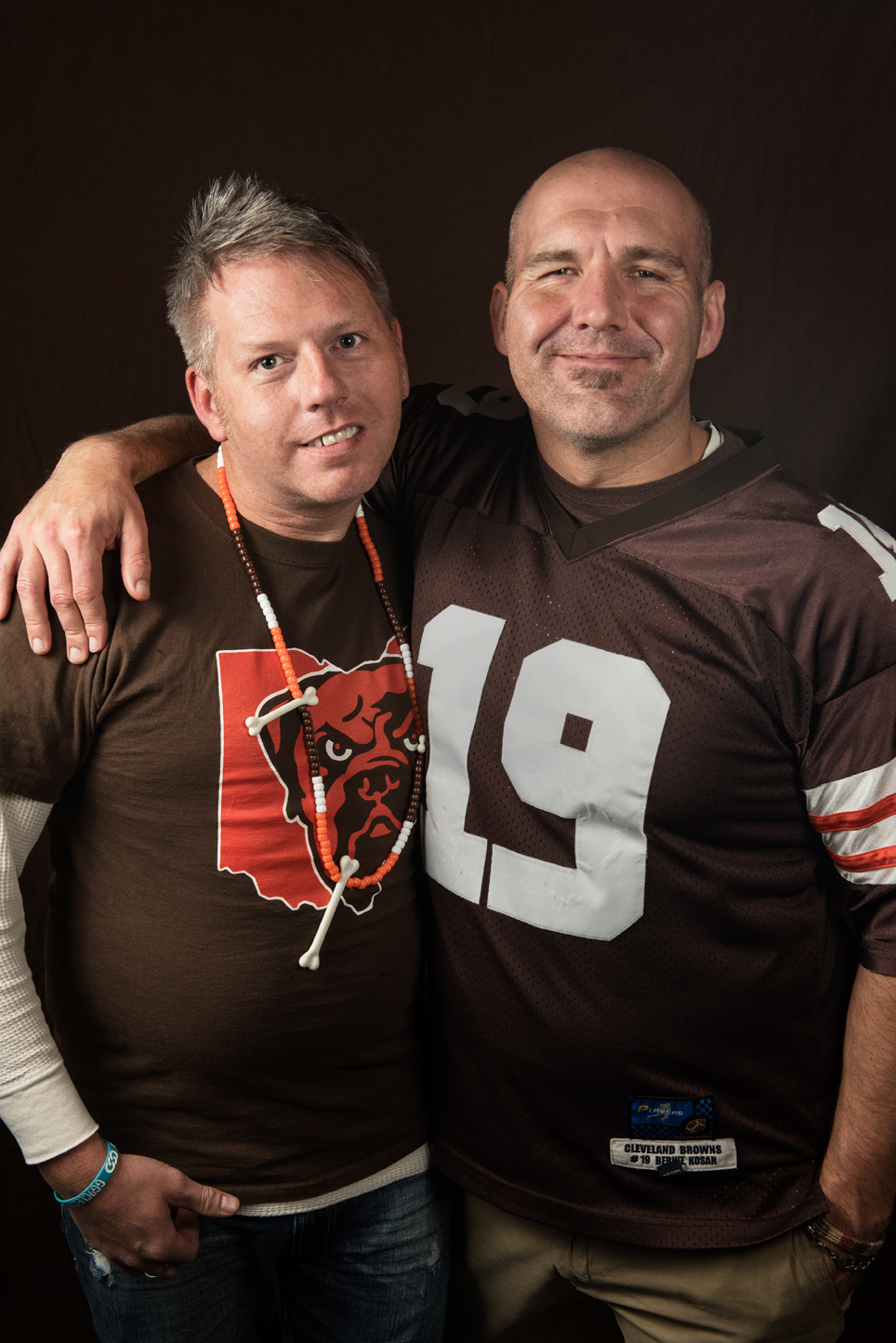"Derrick Pfeister, 42 (left)   Lakewood, Ohio Event Planner  ""I grew up basically on the sidelines. My grandfather was a coach, my father was a coach, my brother played football. I literally was blood, sweat, tears on the sidelines. I never played football, but I was the biggest fan and I still am.""    Corey Parkhurst, 38   Lakewood, Ohio Shipping and Receiving Manager  ""I've played football my whole life. I played football all through college, NCAA, and I wasn't out then and I wasn't comfortable being out then, but when I think back on it, I'm not sure why I shouldn't have been. I should have been out then and comfortable with who I am."""