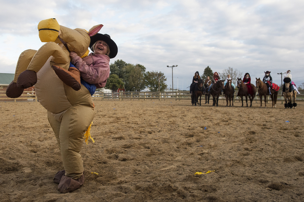 Rather than ride her horse like the other contestants, Sara Calvin dressed up as a horse at the Northern Ohio Outlaw's halloween costume contest during their fun shootout.