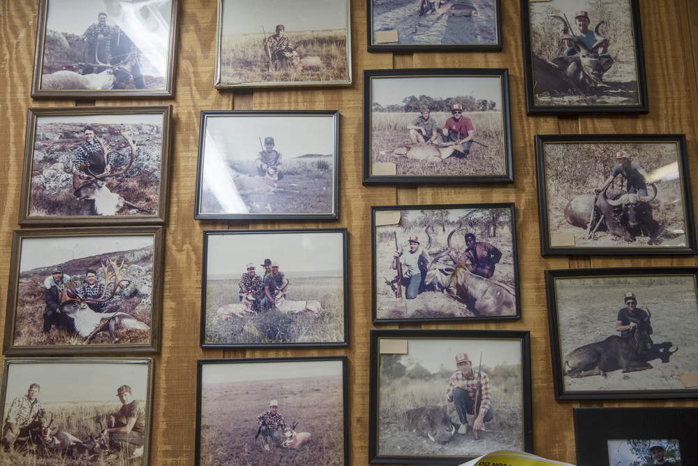 Old hunting photos cover the walls of Bucky Flower's office at Skin and Scales Taxidermy on June 28, 2016 in Naples, Florida.