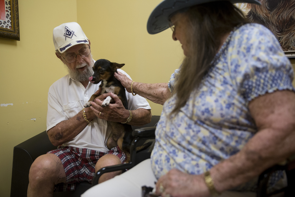 Richard, 89, and Alice Fillie, 94, spend time with Troy in one of the meeting rooms at Humane Society Naples on June 23, 2016 in Naples, Florida. The Fillies recently lost their Maltese and wanted to adopt a new small dog.