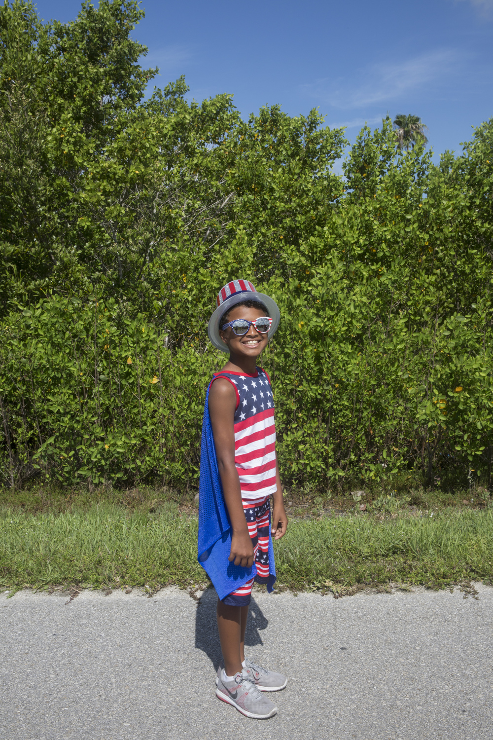 Ethan Pantoja, 9, of Naples, poses for a portrait wearing his most patriotic outfit during the early-bird Fourth of July Parade on July 2, 2015 in Everglades City, Florida. The festivities included the parade through downtown, a doggie parade, and a Mr. and Mrs. Fire Cracker contest.