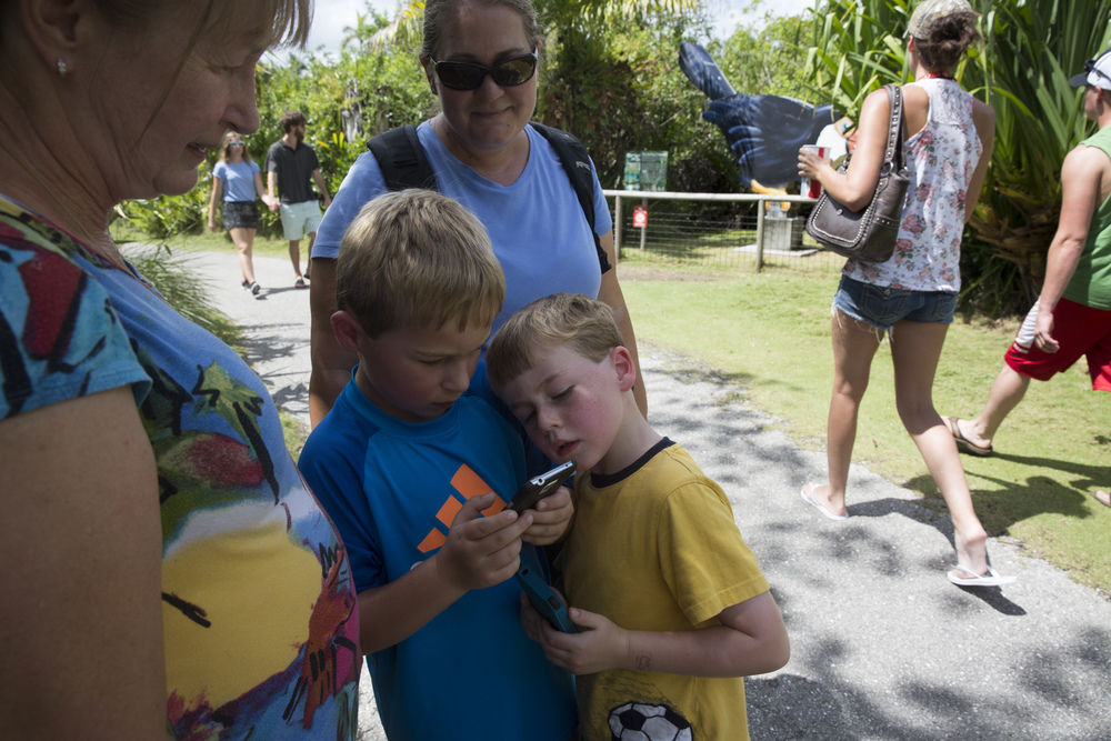 Ben Moore, 5, center, tries to see the Pokémon his brother, Alex Moore, 7, caught at the designated Pokémon gym in the Naples Zoo on July 15, 2016 in Naples, Florida.