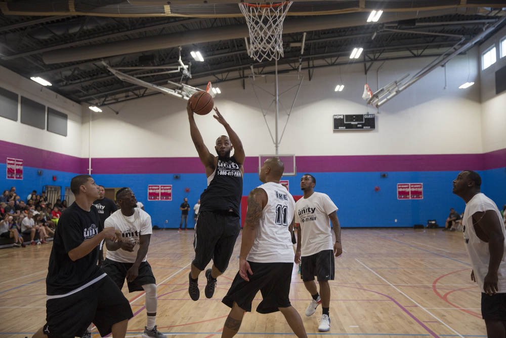 Team Lee County takes it to the net against Team Collier County during the 2nd Annual All-Star Basketball Game at the Greater Naples Y.M.C.A. on July 23, 2016 in Naples, Florida.