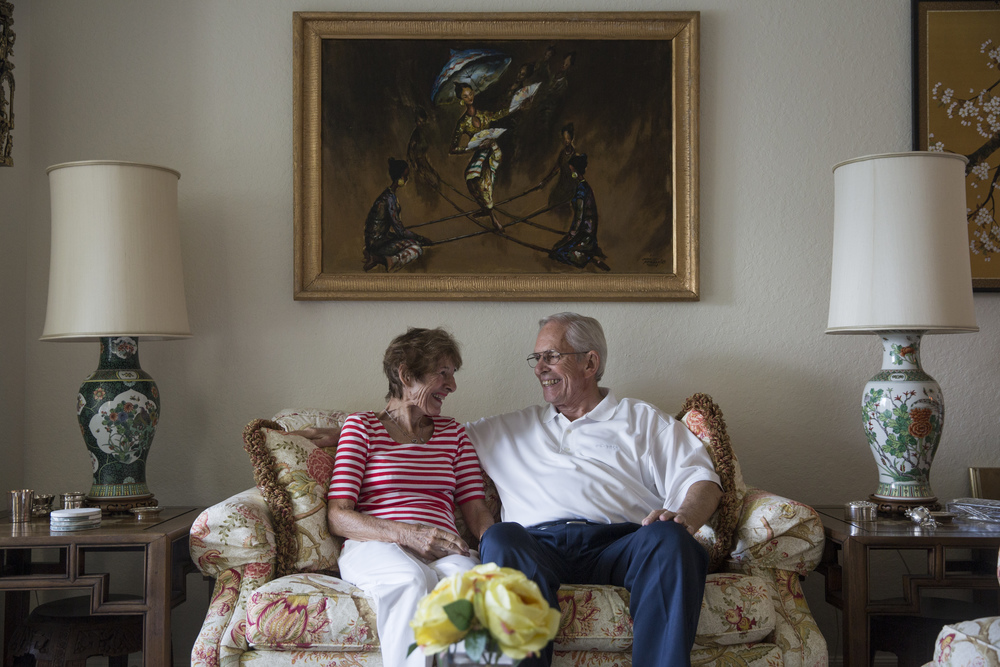 Shirley C. Blanchard and Gene Blanchard share a moment together in their home at Vi at Bentley Village on July 25, 2016 in Naples, Florida. The two retirees have been married for seven months after meeting each other in their building.