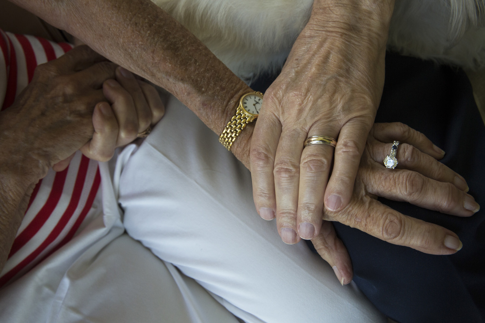 Shirley C. Blanchard and Gene Blanchard show off their wedding rings in their home at Vi at Bentley Village on July 25, 2016 in Naples, Florida.