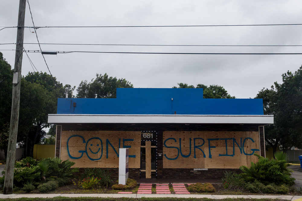 A surf and sailing shop during Hurricane Matthew in Fort Lauderdale, Florida on Friday, Oct. 7, 2016.