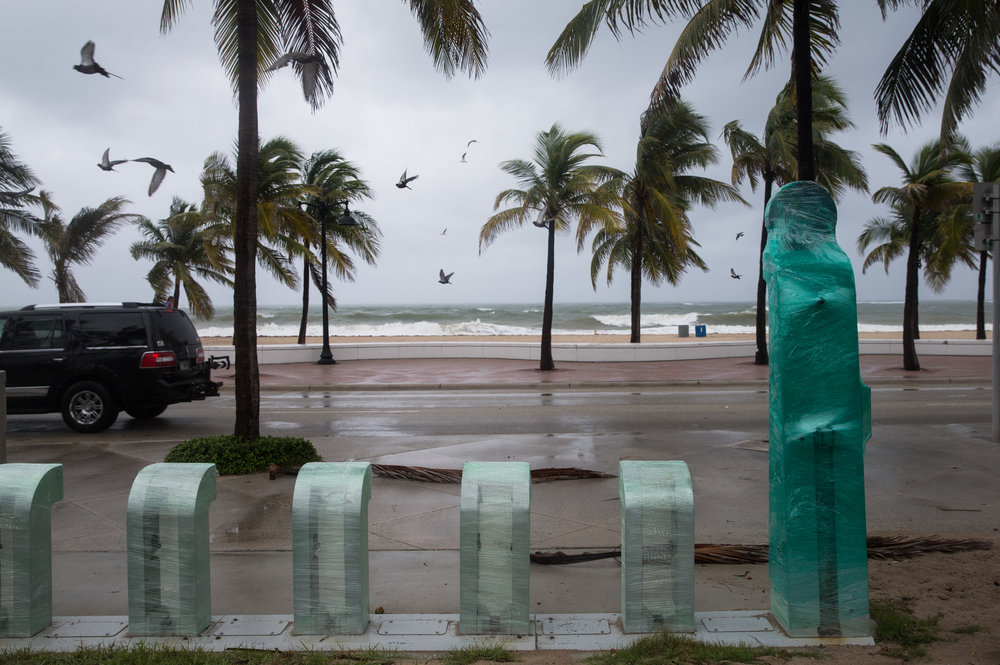 A Broward B-cycle station sits shrink-wrapped at Fort Lauderdale Beach, Florida on Thursday, Oct. 6, 2016.