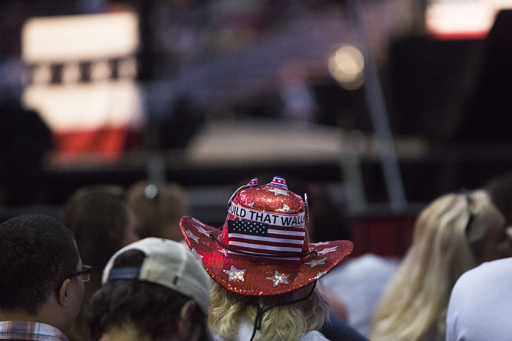 Linda Schainberg wears her handmade hat supporting Donald Trump and his ideas during his rally at the BB&T Center in Fort Lauderdale, Florida on August 10, 2016.