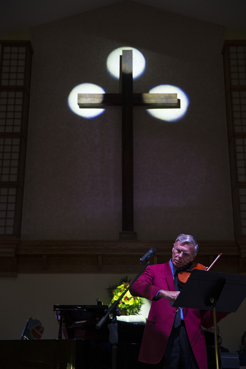 Dan Dickout plays the viola during the St. Matthews benefit concert at East Naples United Methodist Church on Sunday, Sept. 18, 2016. St. Matthew's House strives to fight hunger, homelessness, and addiction in SW Florida.
