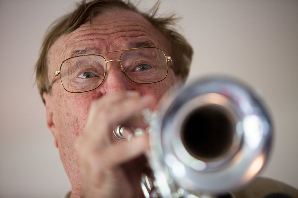 Marty Krebs, 80, plays the trumpet during a jazz jam session at the home of Jim Gover in Naples, Florida on Tuesday, Oct. 11, 2016.