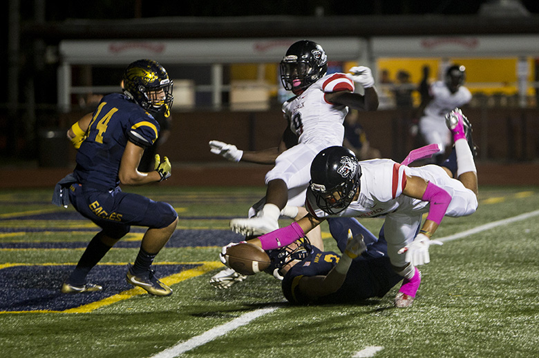 South Fort Myers wide receiver Jeshaun Jones, #6, dives to get a touchdown during their matchup against the Naples Golden Eagles at Staver Field on Friday, Oct. 21, 2016 in Naples, Florida. The Wolfpack defeated the Eagles 42-35.