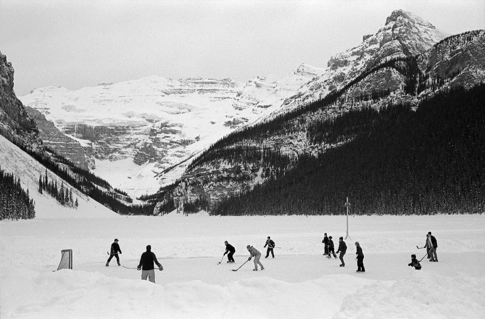 Hockey on lake Louise