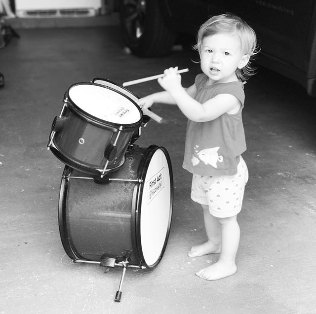 What do we do on rainy days? We play our drums in the garage and watch the rain fall down. ☺️💕🥁#girldrummer #alittlegirlandherdrums #sundayfunday