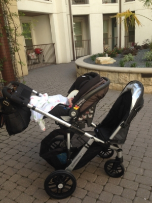 The Vista stroller with second seat attachment