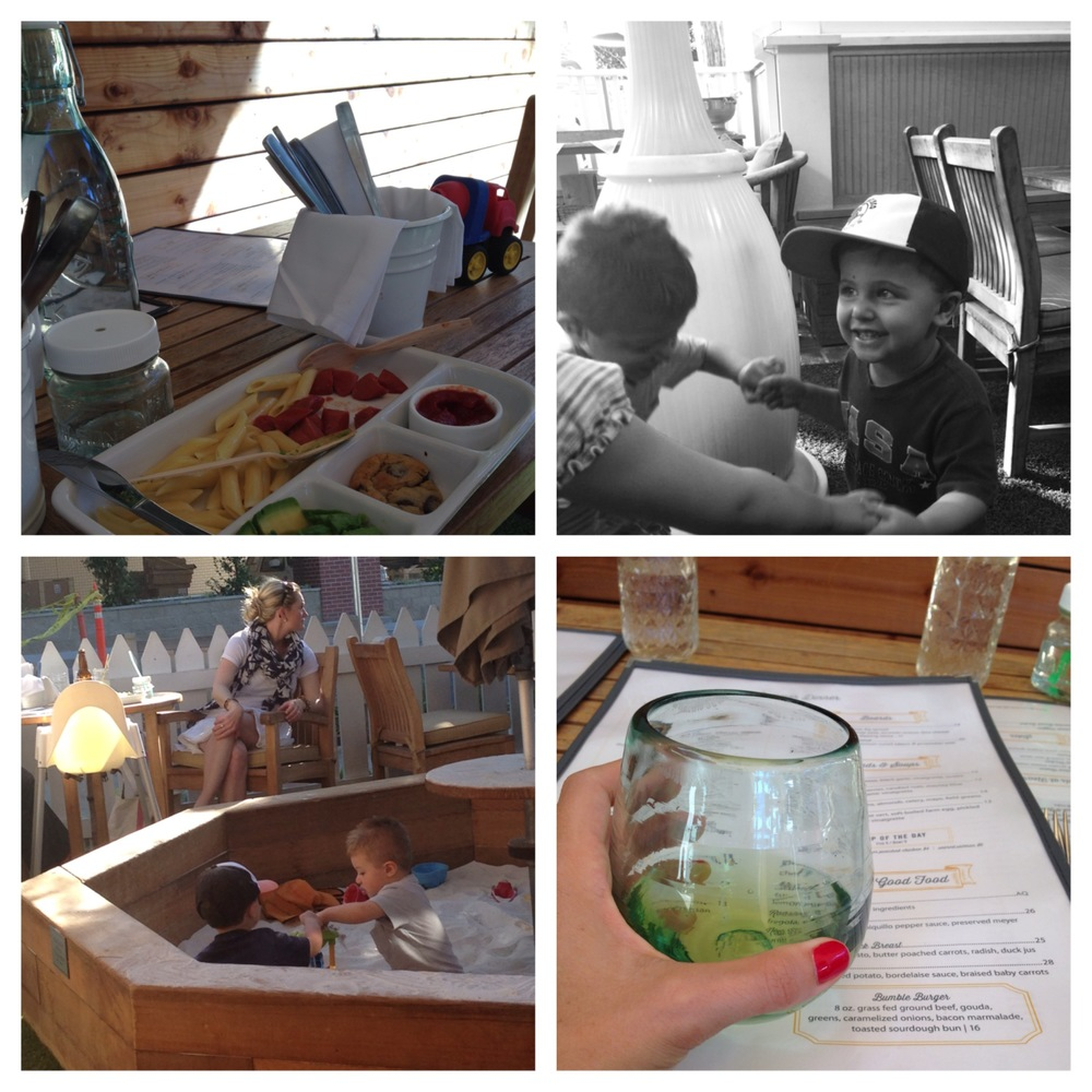 Bumble Los Altos, playing with Cousin Sean :) The wine glasses are AMAZING! That is a kids bento box meal :)