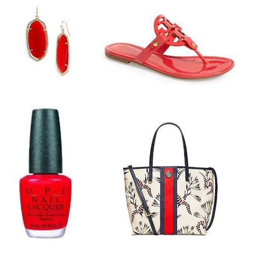 Awesome Kendra Scott earrings that I love and my favorite nail polish in Big Apple Red ( I like it for the name ) go perfectly with my new purchases