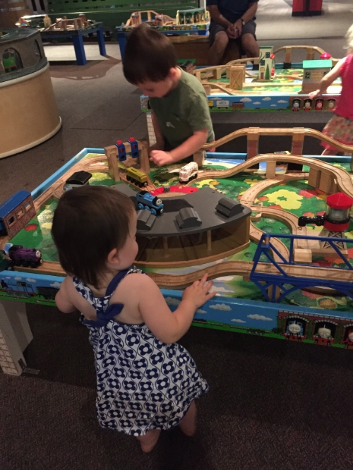 We stopped at the Sacramento Train Museum on the way to Truckee, and both kids LOVED it