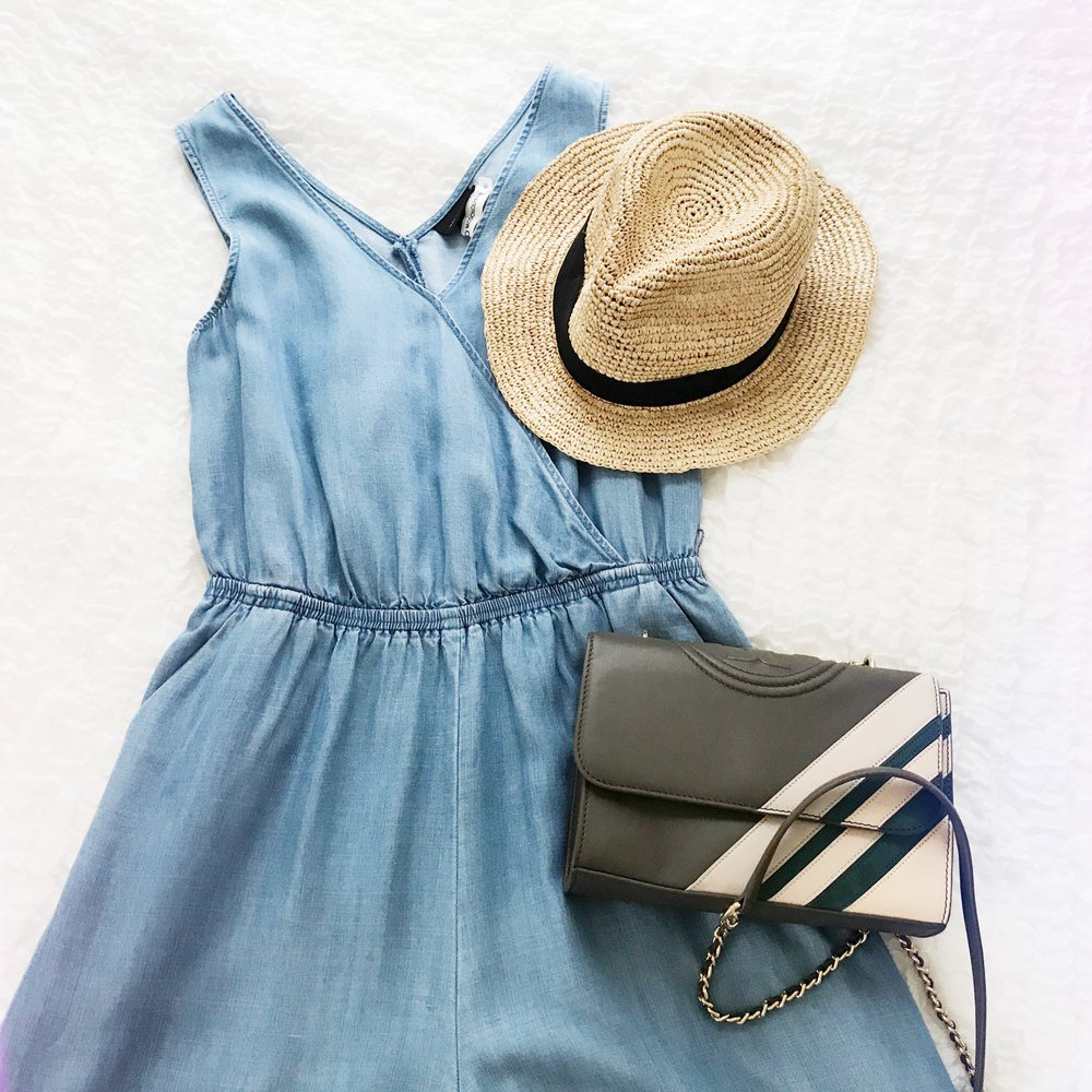 This is a denim jumpsuit from Target's Who What Wear collection (similar), my go to packable J Crew hat and my favorite small Tory Burch bag (this color combo is sold out, similar here)