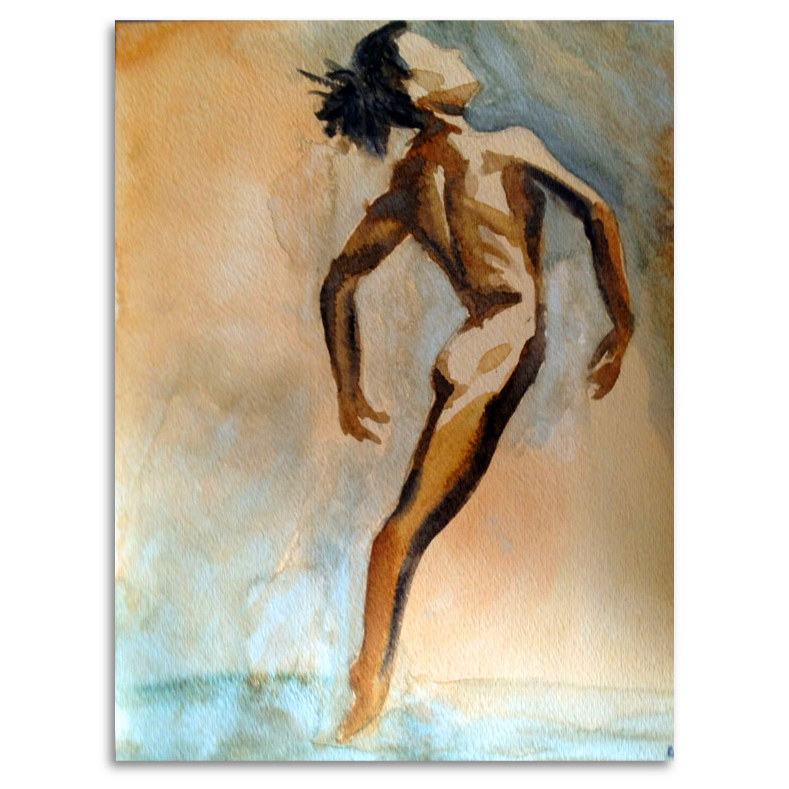 Dancer  9x12, watercolor. Painted from a Richard Avedon photograph.