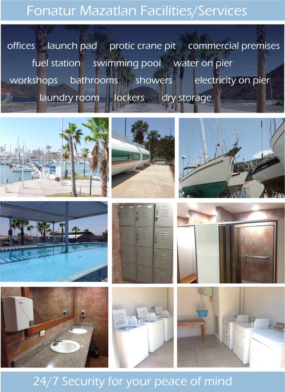 Super clean and comfortable showers, bathrooms & laundry facilities are awaiting your arrival in Mazatlan Mexico Fonatur Marina.