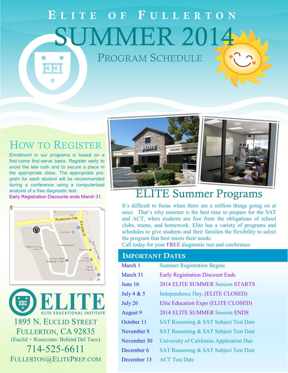 Summer 2014 Schedule (Click to download) »