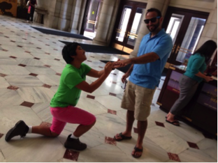Scavenger hunt item: propose to a stranger (he said 'yes')