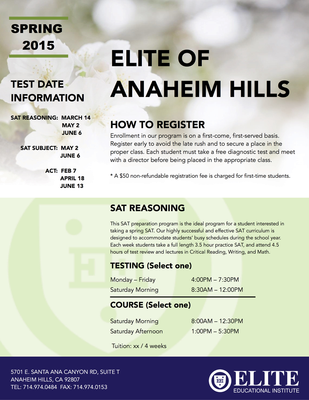 Anaheim Hills Spring 2015 Schedule »