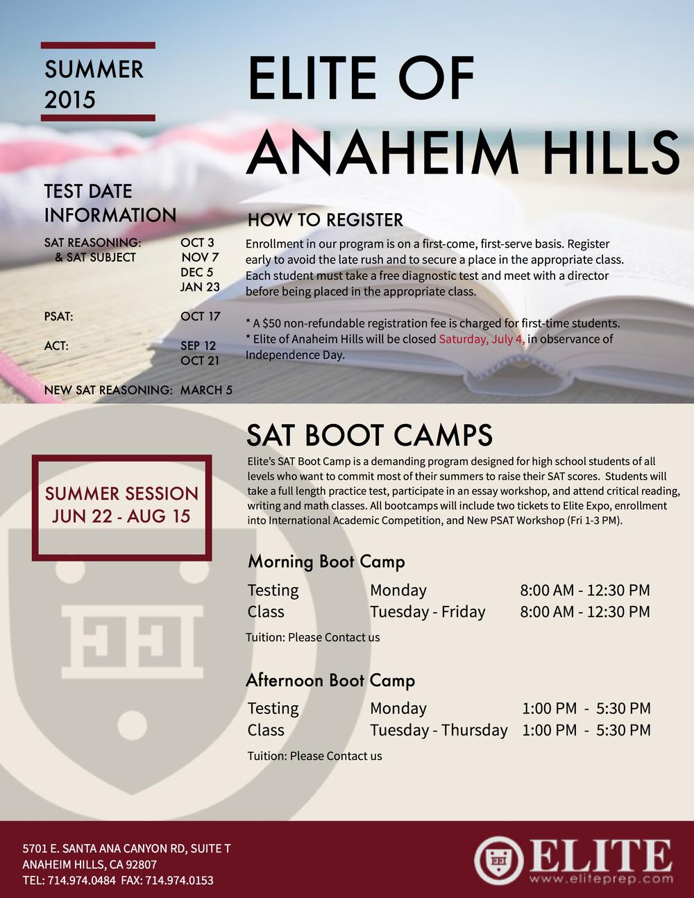 Anaheim Hills Summer 2015 Schedule »