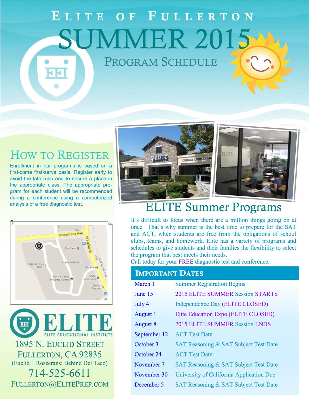 Summer 2015 Schedule »