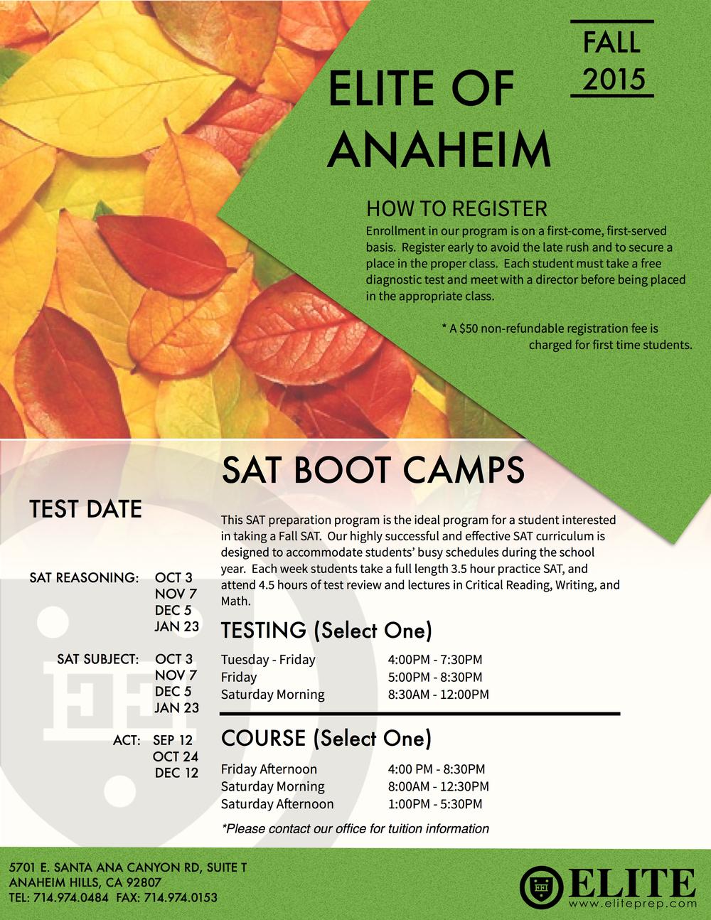Anaheim Hills Fall 2015 Schedule »