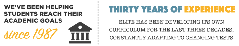 We've been helping students reach their academic goals since 1987. Thirty years of experience. Elite has been developing its own curriculum for the last three decades, constantly adapting to changing tests.
