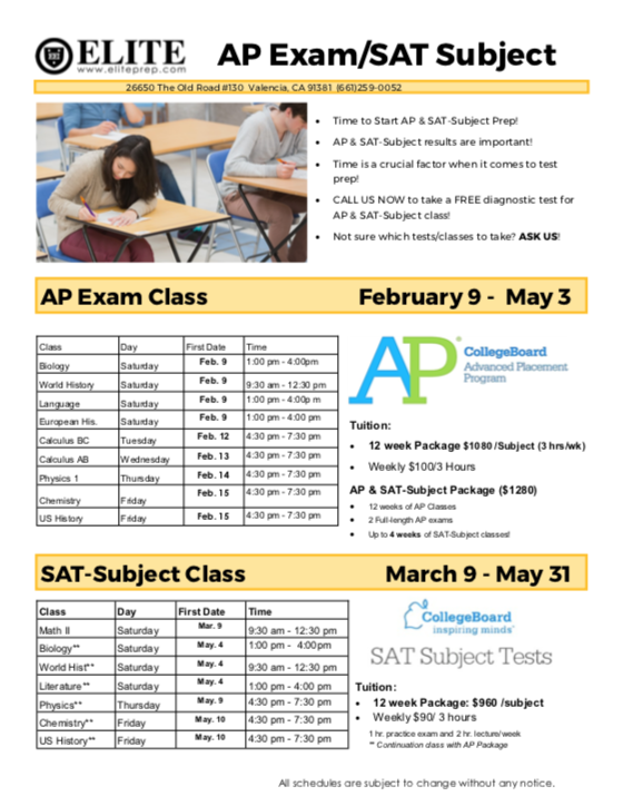 AP Exam / SAT Subject Test Prep – Spring 2019