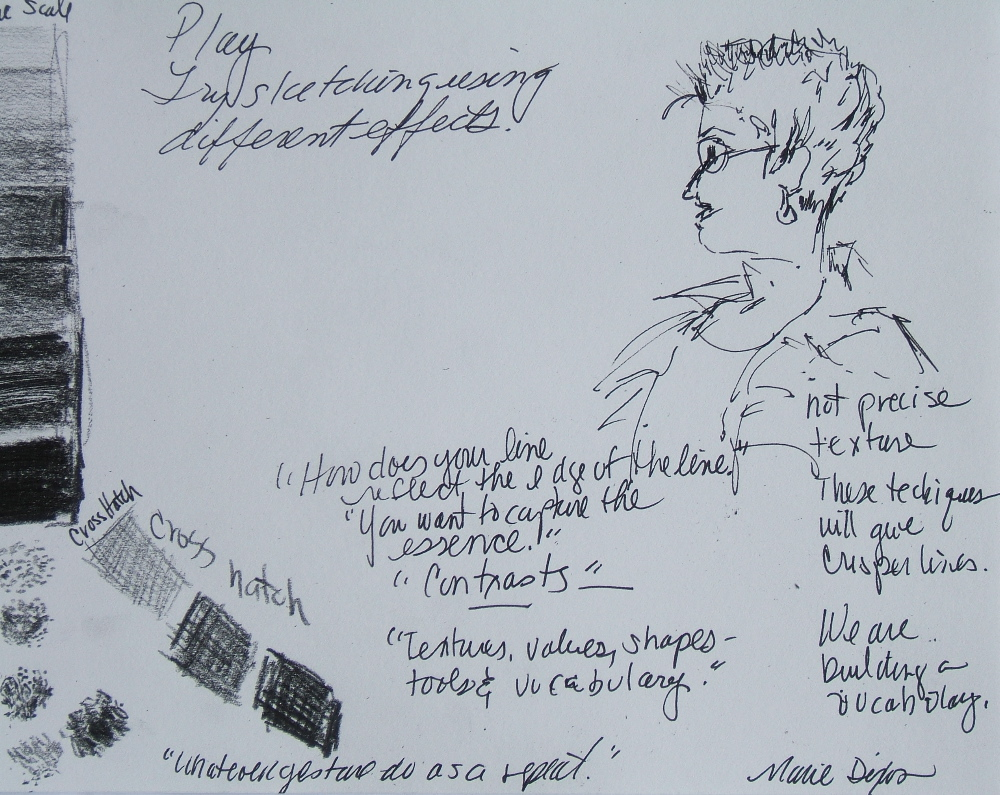 "sketch of Elizabeth amid notes by Marie Dixon from ""Drawing as Meditation:  Sharpening the Eye to See""     Ghost Ranch   class"