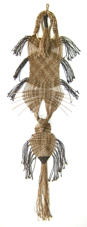 """pre-Cambrian Forms""   33"" x 9""  ©1972 Esther J. Kolling, Macramé using wool/mohair blend, horsehair, wooden sticks"