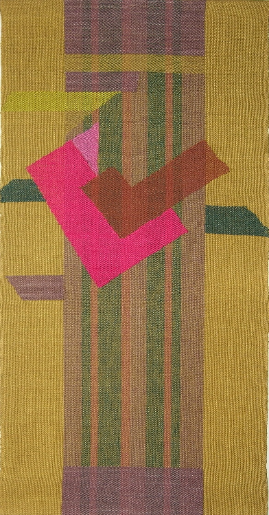 """Magenta and Gold""  27.5"" x 14.5"" ©1982 Esther J. Kolling, Inlay in linen at 20 epi"