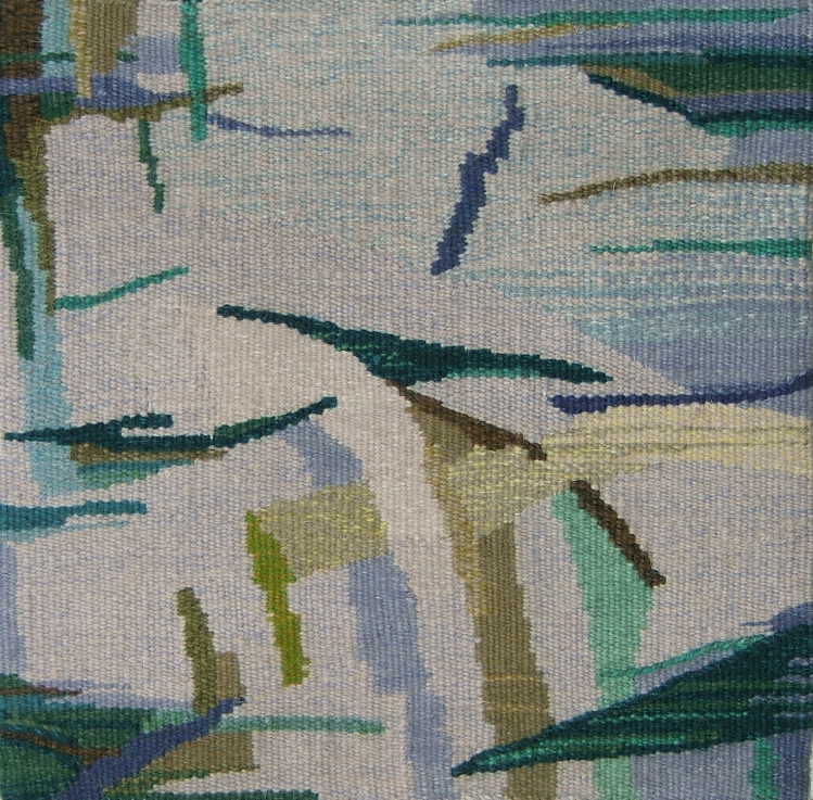 """Reflection""  16"" x 16""   © 1988 Esther J. Kolling, tapestry of hand-dyed wools in weft bundle mixes on cotton seine twine warp at 8 epi"