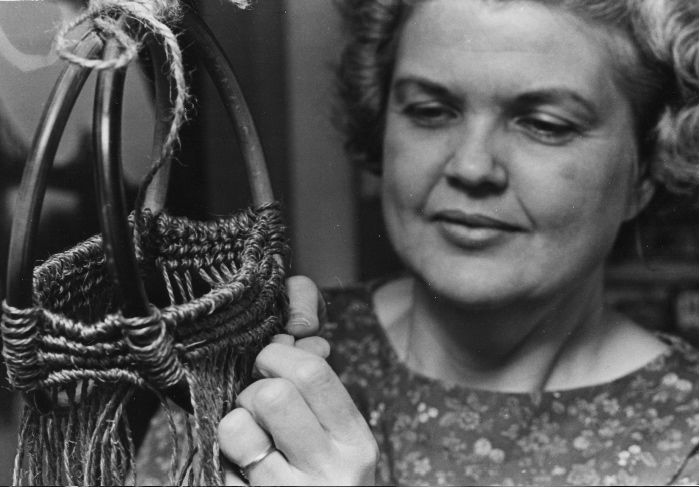 Esther J. Kolling in 1971, her  hands doing macramé   Photo credit:  Bill Stephens