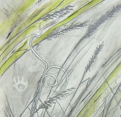 Drawing for Petroglyph and Prairie tapestry © 2012 Elizabeth J. Buckley
