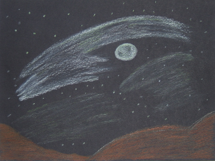 Moonscape drawing by Jan Boydstun 2014 Drawing as Meditation class at Ghost Ranch