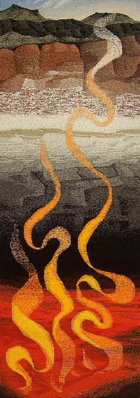 "Molten Beneath Strata     84"" x 28""  ©2017 Elizabeth J. Buckley"