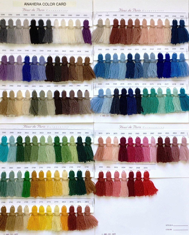 Anahera yarn color sample cards